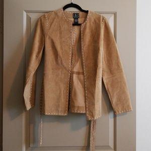Suede brown jacket with belt